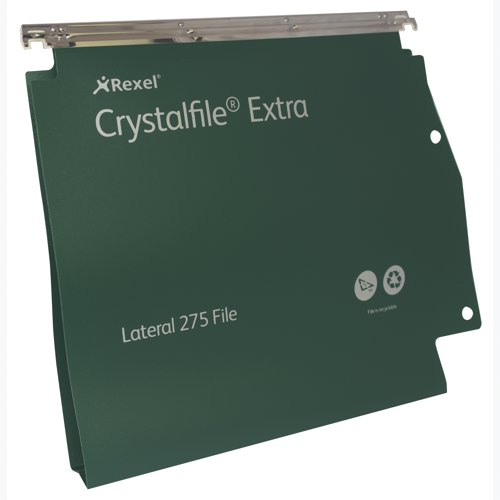 Rexel Crystalfile Extra Lateral Grn 70637 Bx25