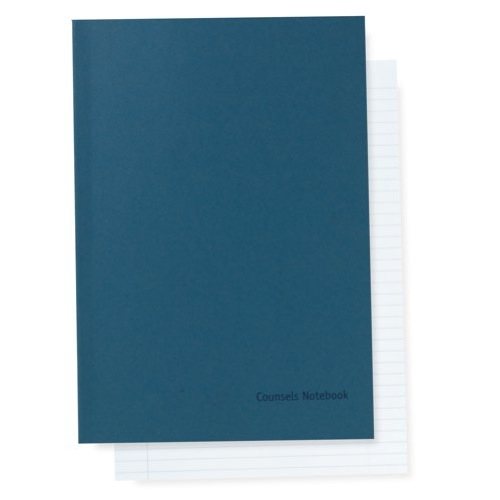 Counsel A4 Notebook 96 Page 70gsm Paper 8mm Feint Ruled & Perforated 180gsm Blue Card Cover Pack 10
