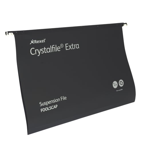 Rexel Crystalfile Extra Polyprop Suspension File Standard Foolscap Black Box 25 Ref 3000080