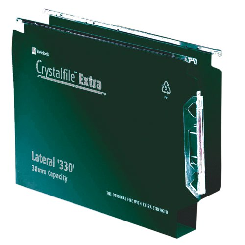 Twinlock Crystalfile Extra Lateral File 330mm Polypropylene 30mm Base Green Box 25 Ref 3000122