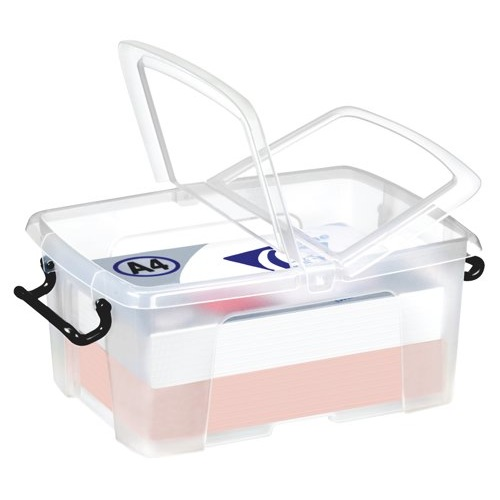 Strata Smart Box Clip-On Folding Lid Carry Handles 12 Litre Clear Ref HW671CLR Each
