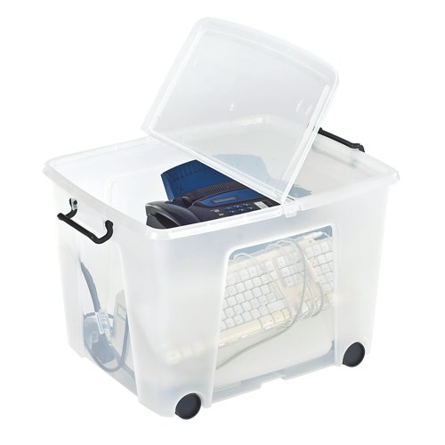 Strata Smart Box Clip-On Folding Lid Carry Handles 75 Litre Clear with Black Wheels HW676CLR Each