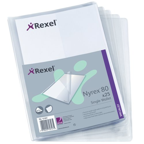 Rexel Nyrex Single Wallet with Vertical Inside Pocket A4 Clear 12181 Pack 25