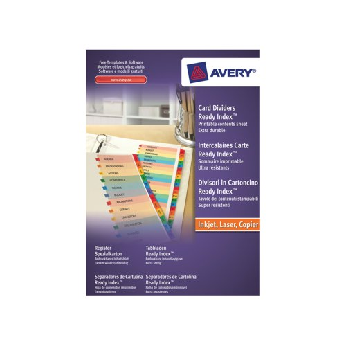 Avery Ready Index Mylar Jan-Dec FSC Mix BV-COC-008800 02002501 Set