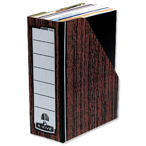 R-Kive Premium Magazine File Fastfold Internal 102x229x298mm Woodgrain Ref 0723301