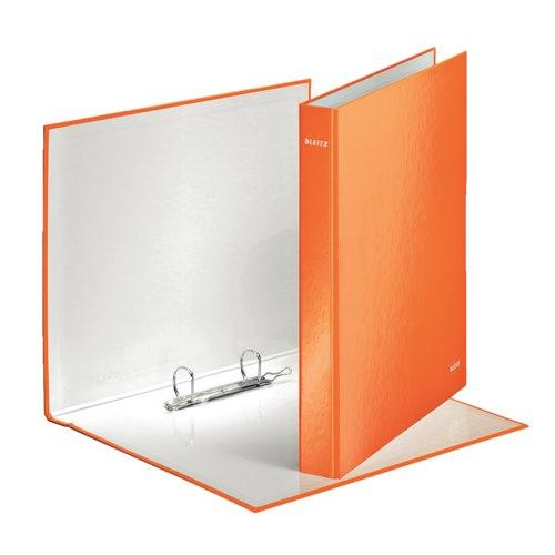 Leitz WOW 2 Ring Binder D-Ring 25mm Capacity Metallic Orange Ref 42410044 Each