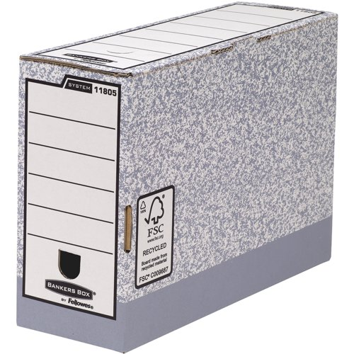 Fellowes Bankers Box System Transfer Files Foolscap Grey Packed 10 Ref 1180501