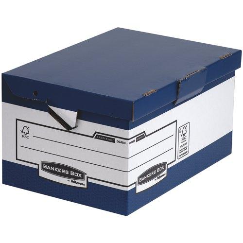 Fellowes ERGO-Stor Maxi Fliptop Boxes Blue/White Packed 10 Ref 48901