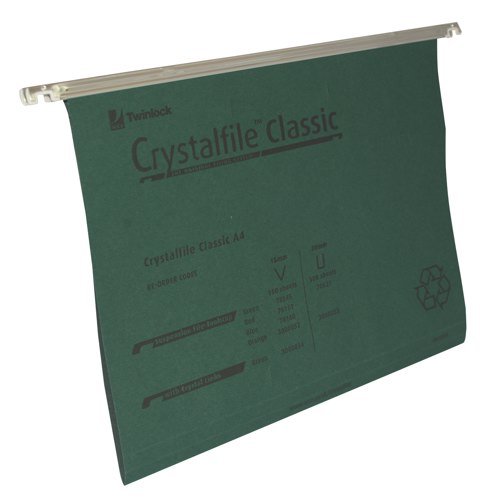 Rexel Crystalfile Suspension File A4 Green With Tabs/Inserts V-Base Box 50 Ref 78045