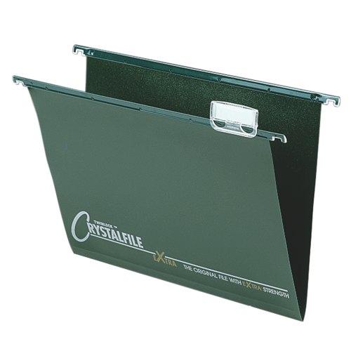 Rexel Crystalfile Extra Poly Suspension File Foolscap Green Box 25 Ref 70628