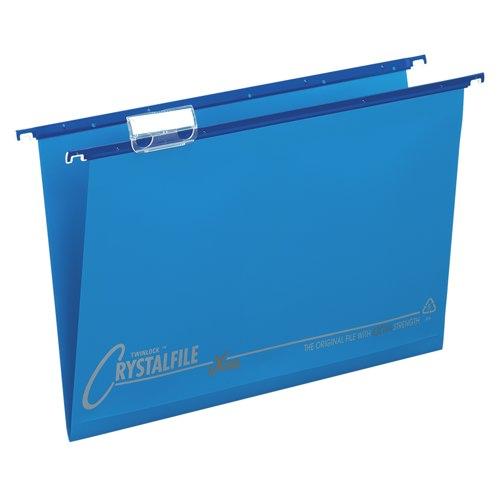Rexel Crystalfile Extra Poly Suspension File Foolscap Blue Box 25 Ref 70630