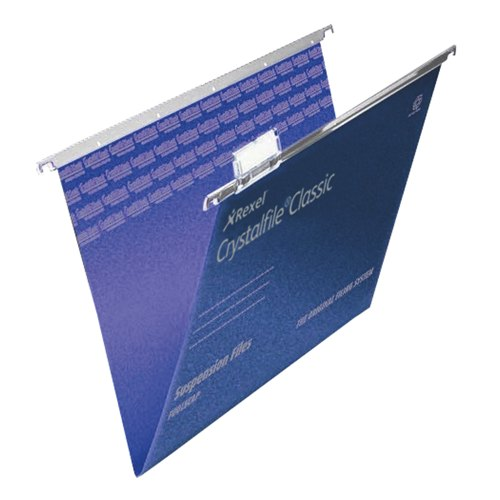 Rexel Crystalfile Suspension File Foolscap Blue With Tabs/Inserts V-Base Box 50 Ref 78143