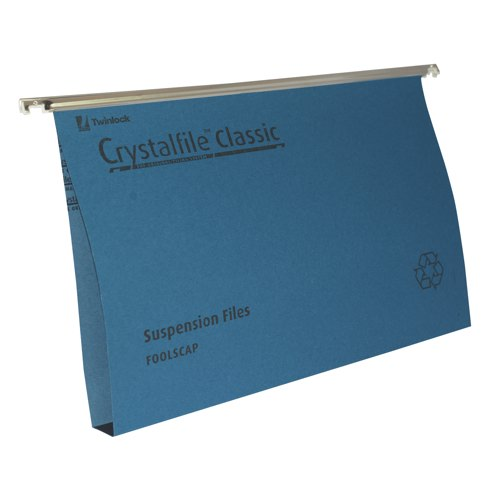 Rexel Crystalfile Suspension File Reinforced Wide Base 30mm Capacity Foolscap Blue Box 50 Ref 70625