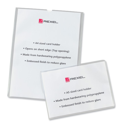 Rexel Nyrex Card Holder A5 Open On Short Edge Polypropylene Pack 25 Ref 12093