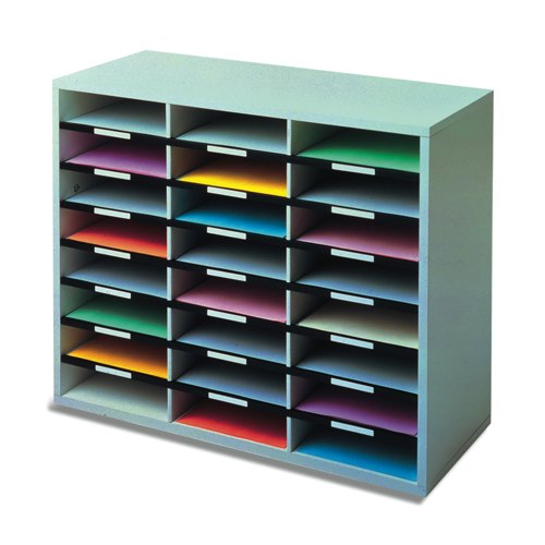 Fellowes Literature Sorter Melamine-laminated Shell 24 Compartments 737x302x594mm Ref 25041 Each