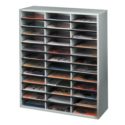 Fellowes Literature Sorter Melamine-laminated Shell 36 Compartments 737x302x881mm Ref 25061 Each