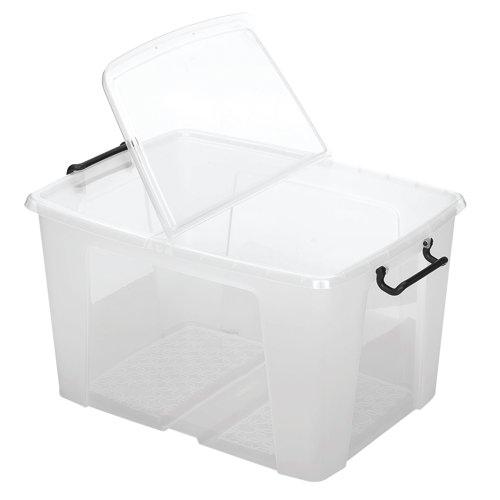 Strata 65L Smart Box Recycled 590 x 450 x 340mm Clear Ref HW686