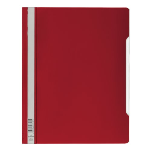 Elba Clear View Folder Plastic With Index Strip Extra Wide A4 Red Ref 2570/03 Pack 50