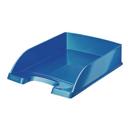 Leitz Plus WOW Letter Tray Stackable Glossy W245xD380xH70mm Metallic Blue Ref 52263023 Each