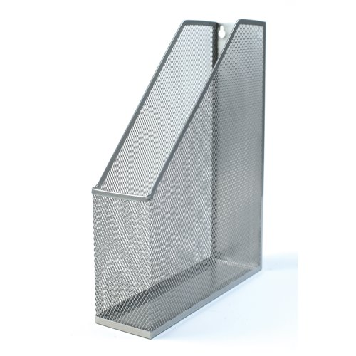 business Office Mesh Magazine Rack Scratch Resistant with Non Marking Rubber Pads A4 Plus Silver