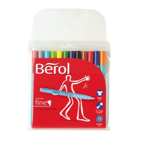 Berol Colour Fine Pen with Washable Ink 0.6mm Line Assorted Wallet 12 Ref S0672870