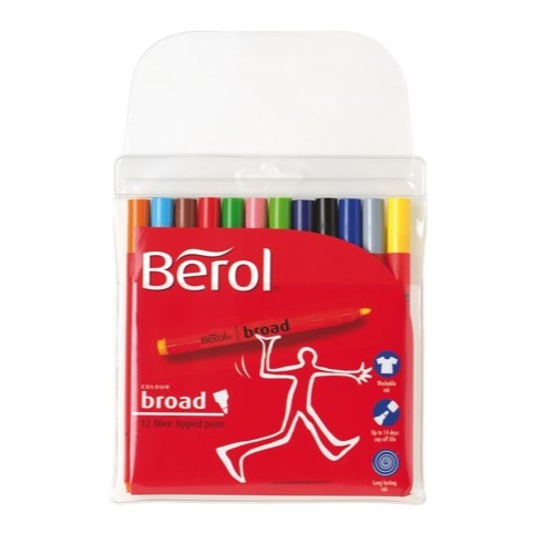 Berol Colour Broad Pen with Washable Ink 1.7mm Line Assorted Wallet 12 Ref S0375990