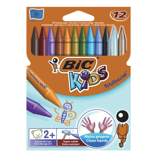 Bic Kids Plastidecor Sharpenable Colouring Crayons 829770 Pack 12