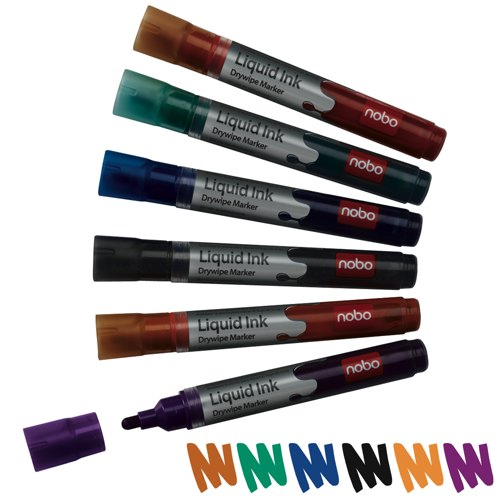 Nobo Liquid Ink Whiteboard Drywipe Marker Assorted Colours Ref 1901072