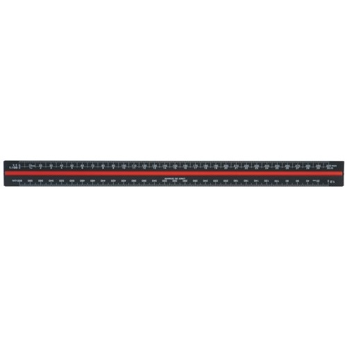 Linex Scale Ruler Triangular Aluminium Colour-Coded Scales 1-1 To 1-2500 Ref H382 Each