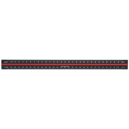 Linex Black Aluminium 30cm Tri-Scale Ruler
