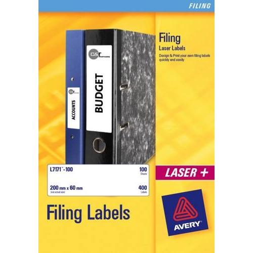 Avery Laser Labels Eurofolios & Filing 134x11mm 24 Per Sheet White 600 Labels FSC L7170-25 Pack 25