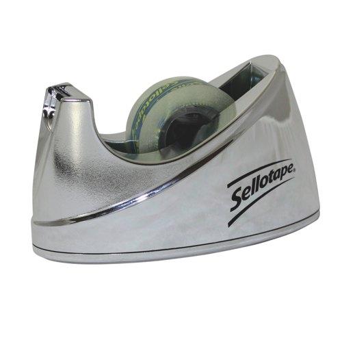 Henkel Sellotape Chrome Desk Tape Dispenser Small Ref 504045 Each