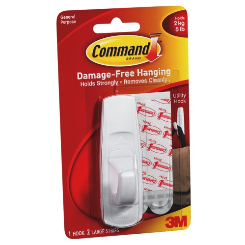 3M Command Large Adhesive Hooks White Ref 17003