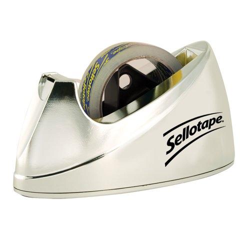 Sellotape Large Chrome Dispenser Non-slip for 25mmx33m and 66m Rolls Ref 575450 Each