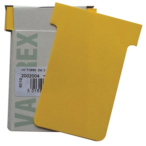Eurocharts T-Card Size 2 Yellow Pack 100 Ref 1052009