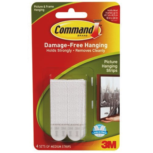 Command Adhesive Hanging Strips Medium Packed 4 Ref 17201-4PK