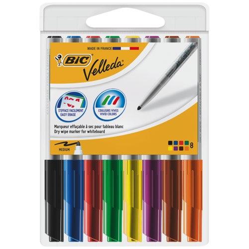 Bic Velleda Pocket Whiteboard Drywipe Marker Bullet Tip Assorted Colours Ref 1199001748