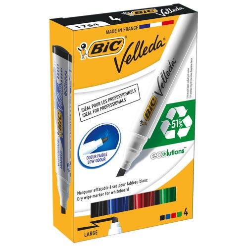 Bic Velleda 1751/1754 Whiteboard Drywipe Marker Chisel Tip Assorted Pack 4 1199001754