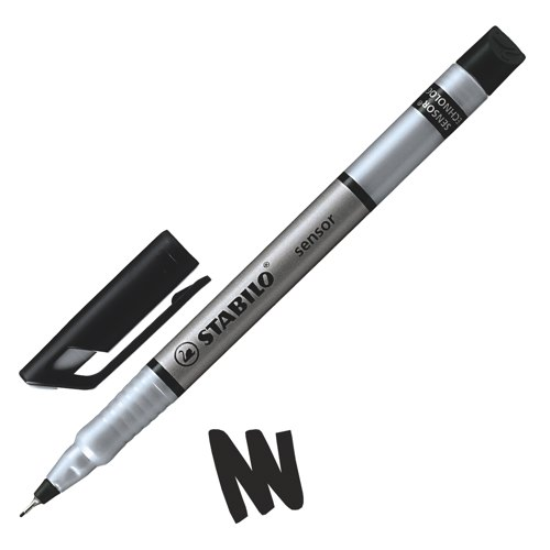 Stabilo Sensor 189 Fineliner Pen Water-Based Ink 0.8 Tip 0.3mm Line Black Ref 189/46