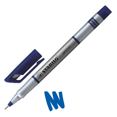 Stabilo Sensor 189 Fineliner Pen Water-Based Ink 0.8 Tip 0.3mm Line Blue Ref 189/41