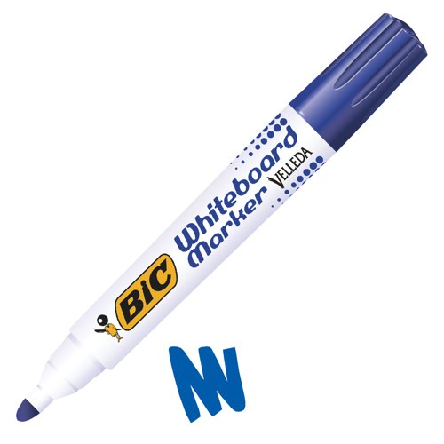 Bic Velleda Blue Bullet Tip Whiteboard Marker Pens Pack of 12
