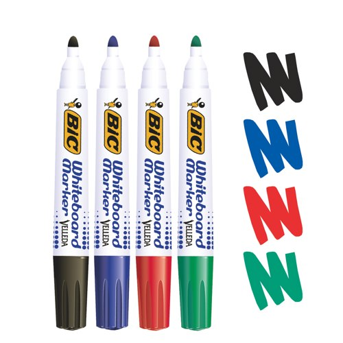 Bic Assorted Bullet Tip Whiteboard Marker Pens Pack of 4