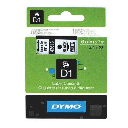 Dymo D1 Tape for Electronic Labelmakers 6mmx7m Black on White Ref S0720780 Each