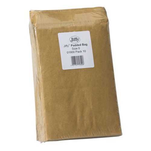 Jiffy Padded Bag Envelopes Mini Pack No.0 Brown 132x235mm Pack 10 Ref MMUL01215