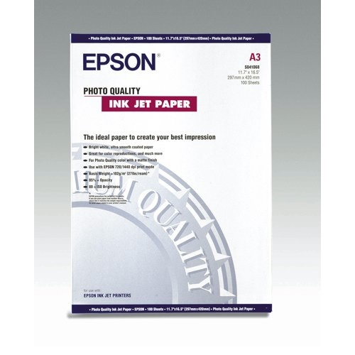 Epson White Photo Quality 102gsm A3 Inkjet Paper (Pack of 100 Sheets) REF C13S041068