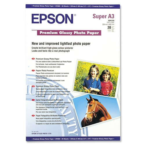 Epson Premium White Glossy 255gsm A3+ Photo Paper (Pack of 20 Sheets) REF C13S041316