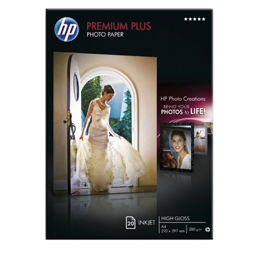HP Premium Plus Glossy Photo Paper A4 300gsm White (Pack of 20 Sheets) Ref CR672A
