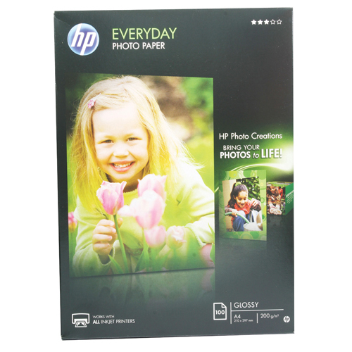 HP Everyday White Glossy 200gsm A4 Photo Paper (Pack of 100 Sheets) REF Q2510A