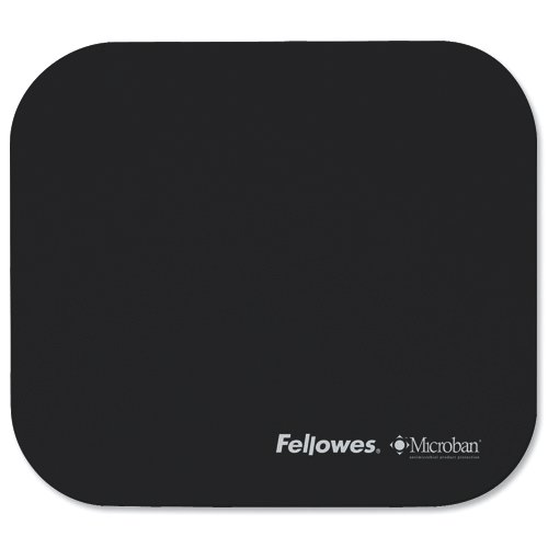Fellowes Microban Mousepad Antibacterial With Non-Slip Base Black Ref 5933907 Each