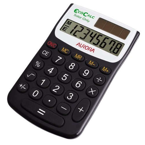 Aurora EcoCalc Handheld Calculator EC101 Recycled 8 Digit Ref EC101 Each